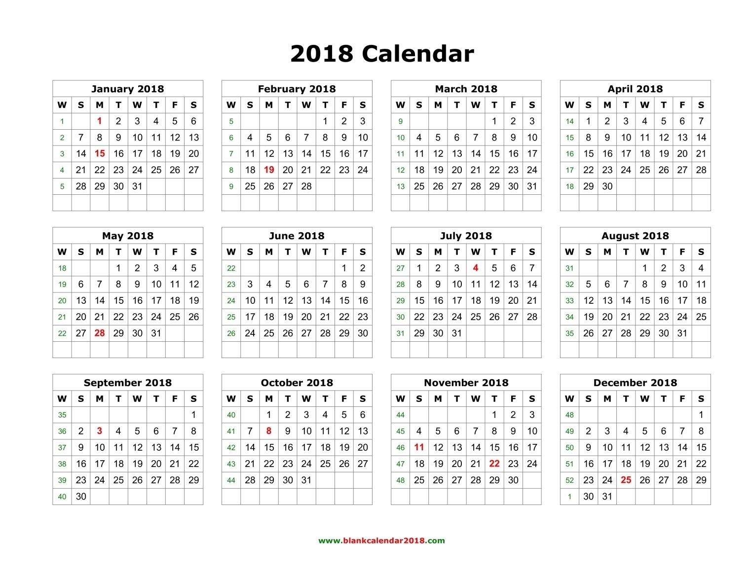 Calendar Printable Yearly Calendar Blank