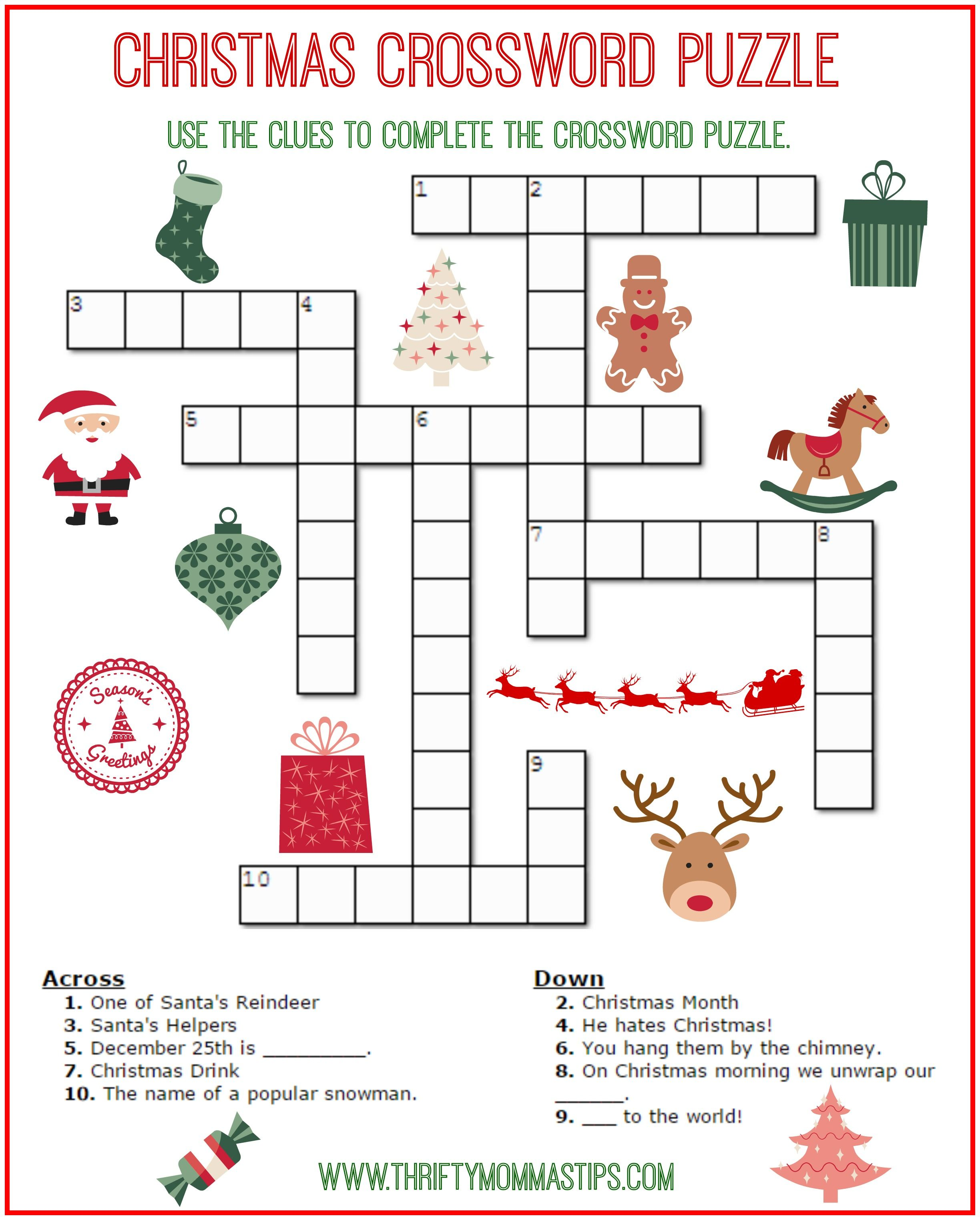 Christmas Crossword Puzzle Printable Thrifty Mommas Tips
