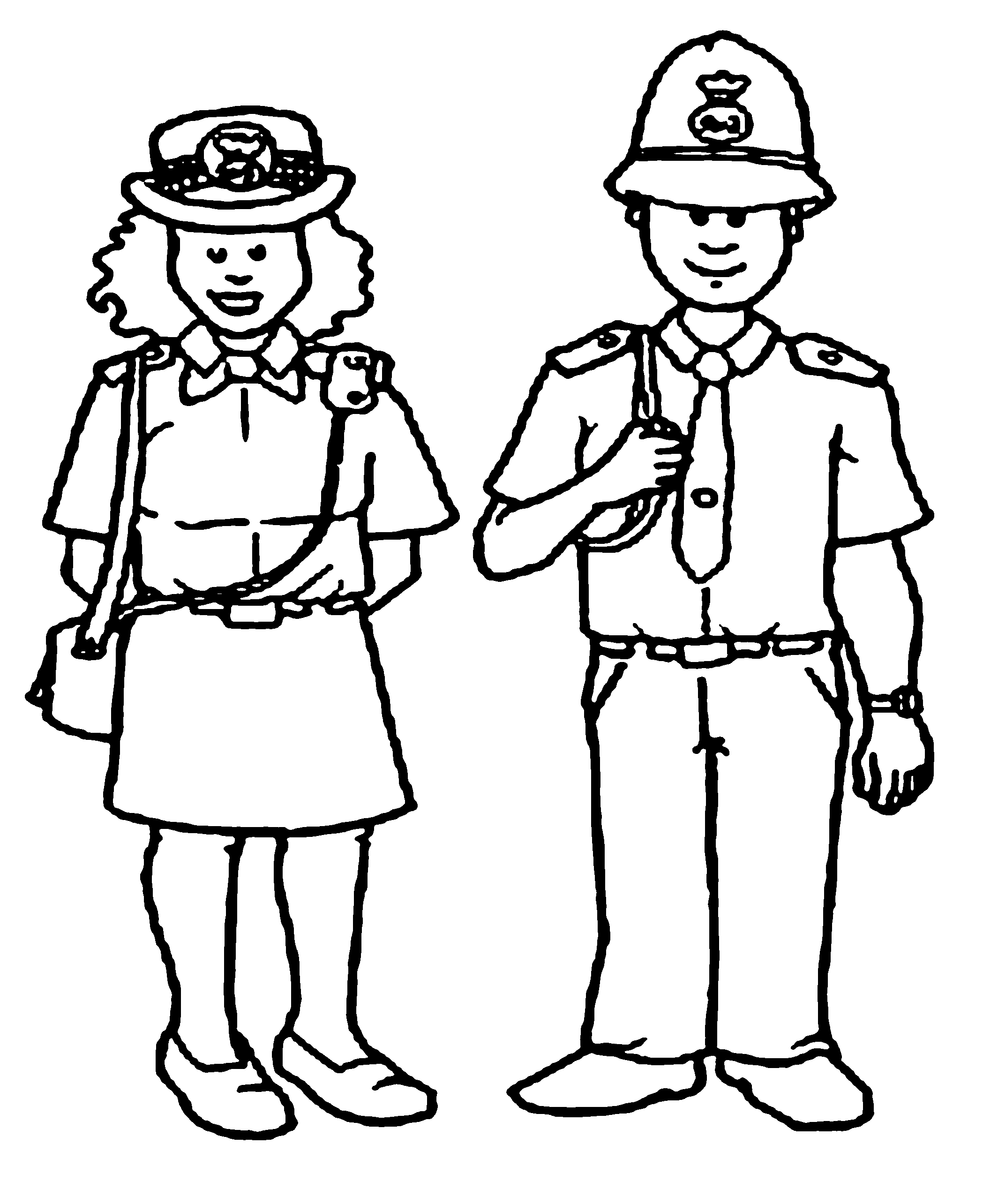 Police Women And Policeman Coloring Pages