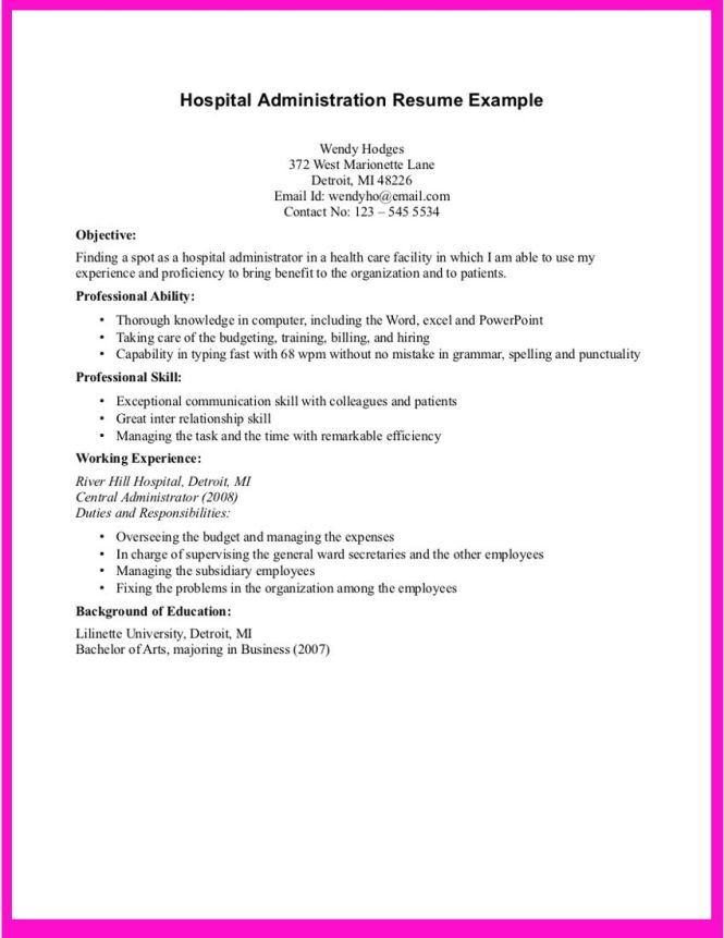 example for hospital administration resume - Hospital Administrator Resume