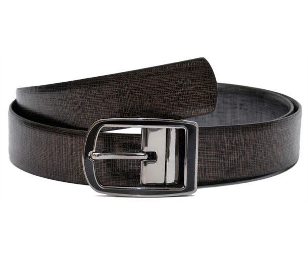 Genuine Leather Reversible Belt With Metallic Print Frame And Pin Style Curved Buckle In Grey Finish