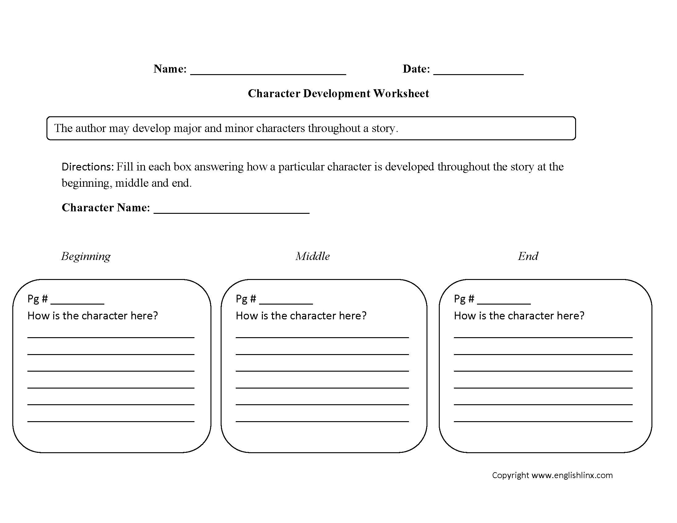 Single Character Development Characterysis Worksheet