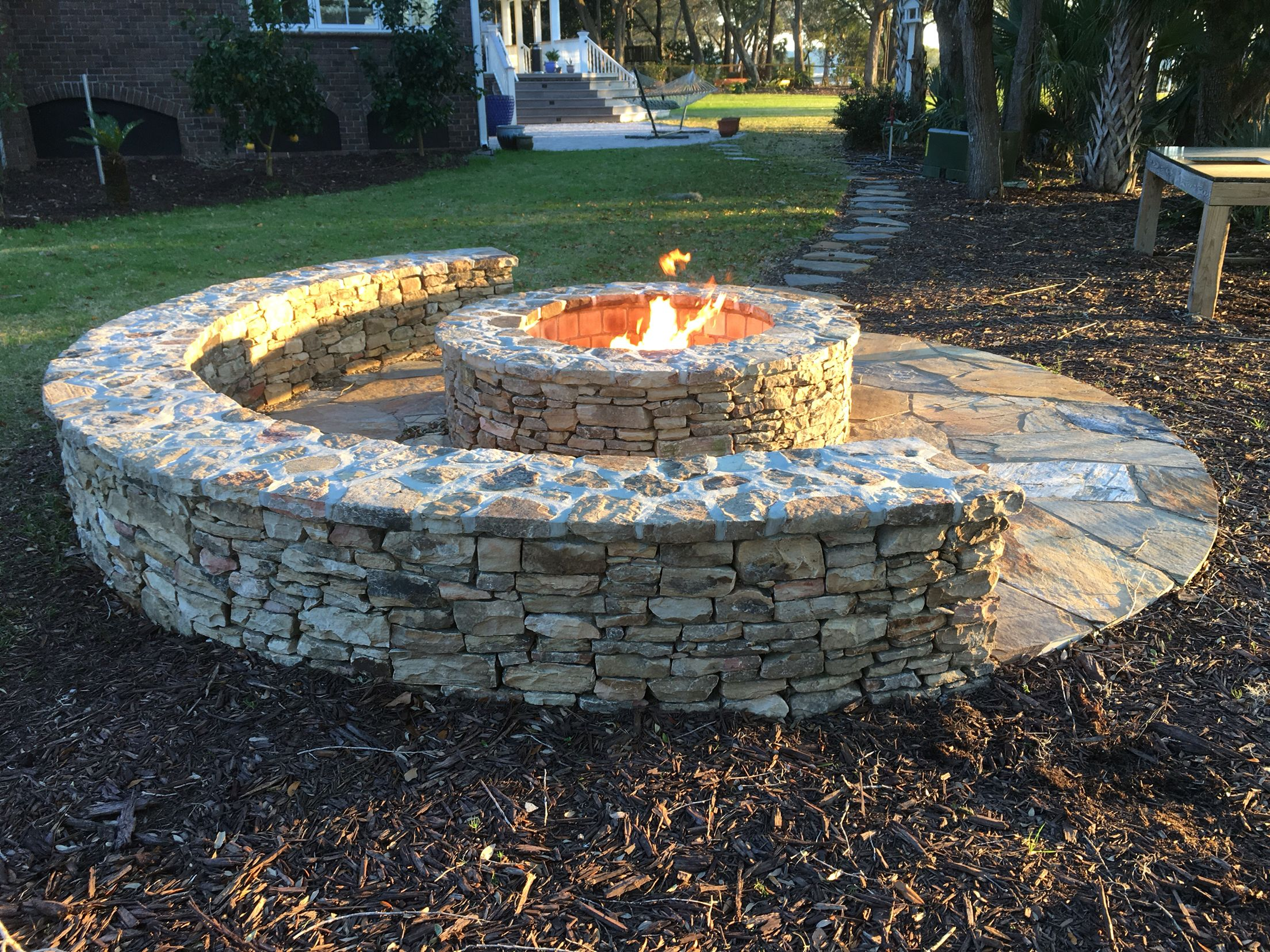 Classic Half Moon Stone Firepit With Gas Starter