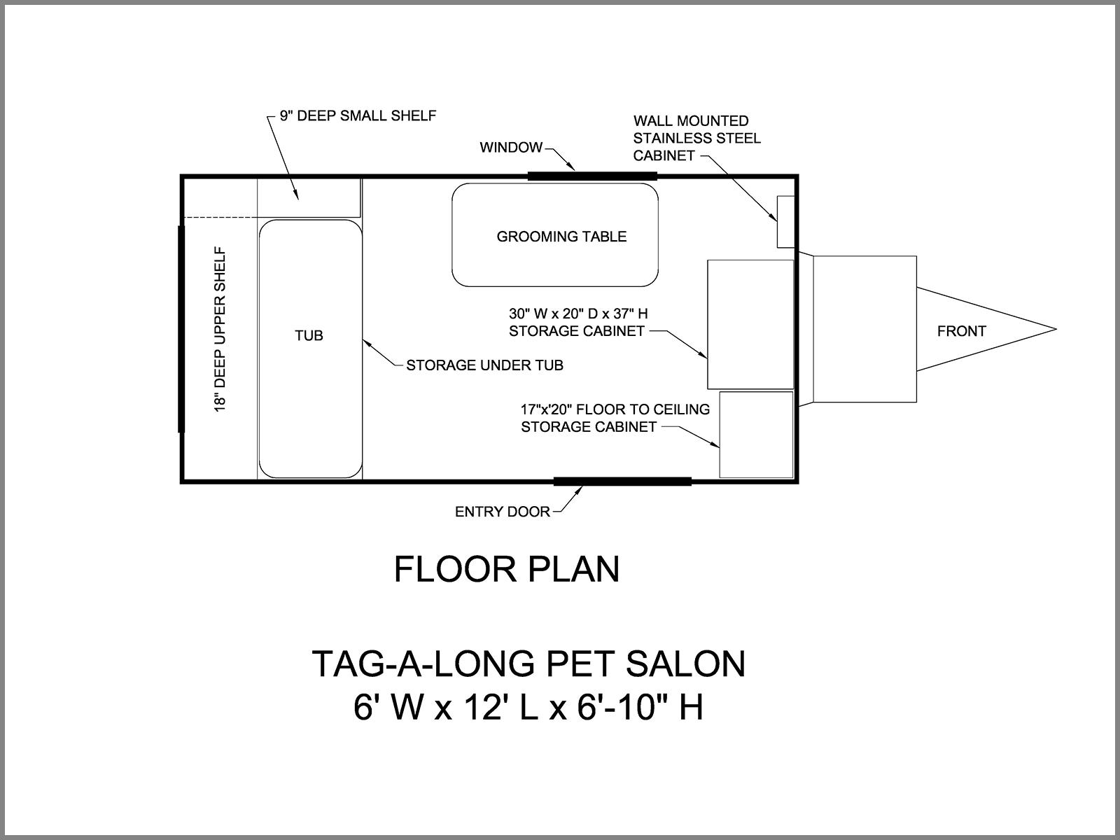 Dog Grooming Trailer-Floor Plan