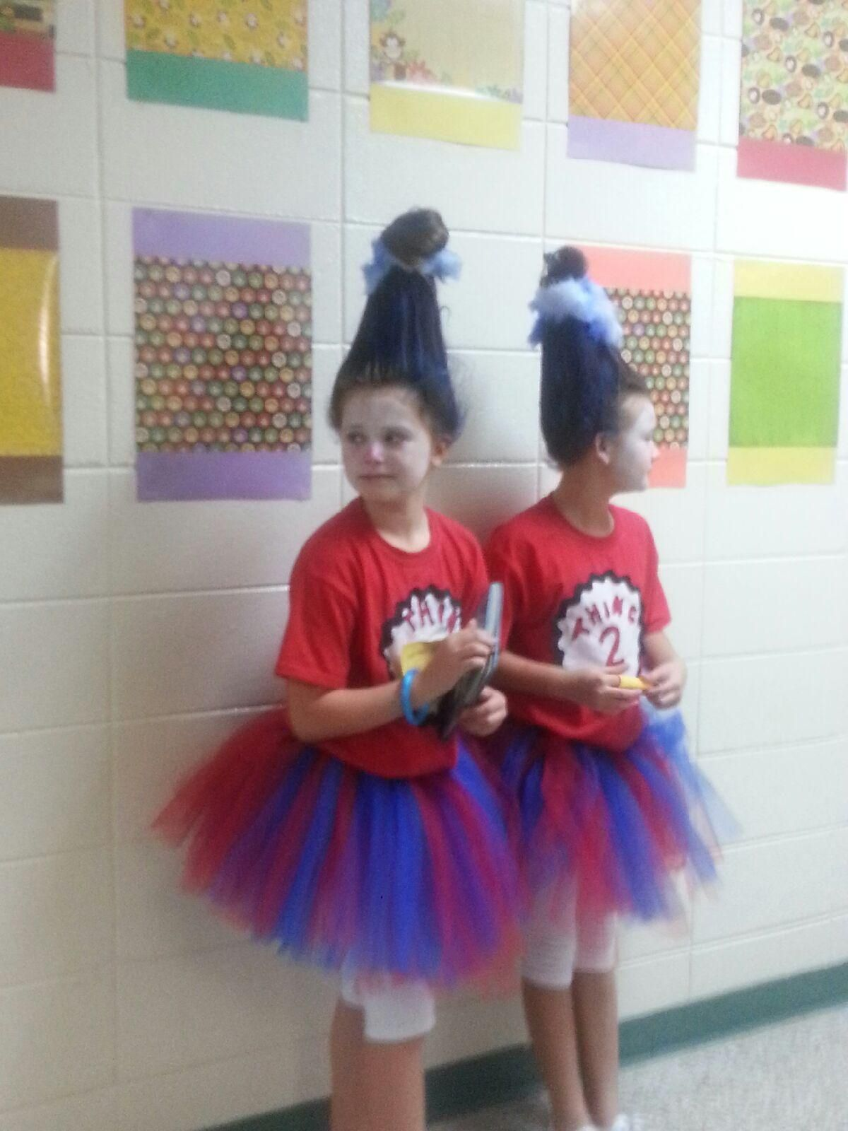 Homemade Thing 1 Thing 2 Costumes And Coke Bottle Hair