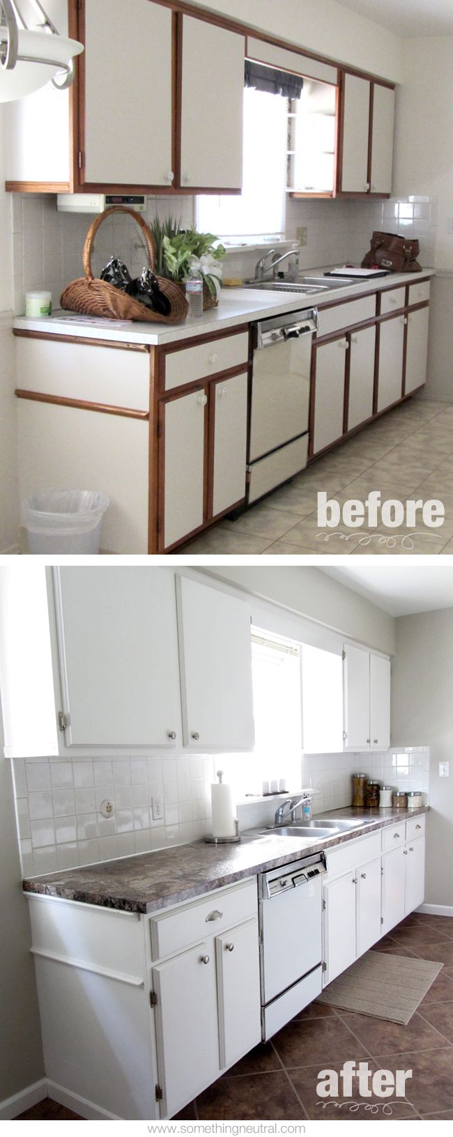kitchen before after diy neutral tan white remodel cabinets hardware paint on kitchen cabinets painted before and after id=89696