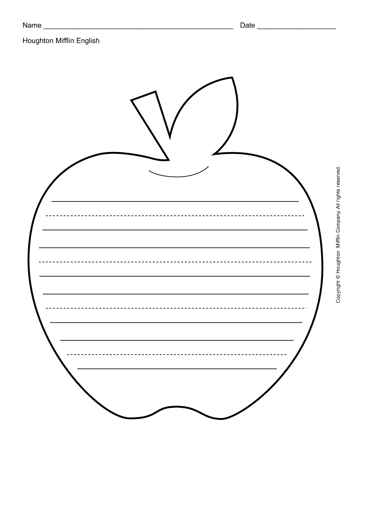 Worksheet About Apples