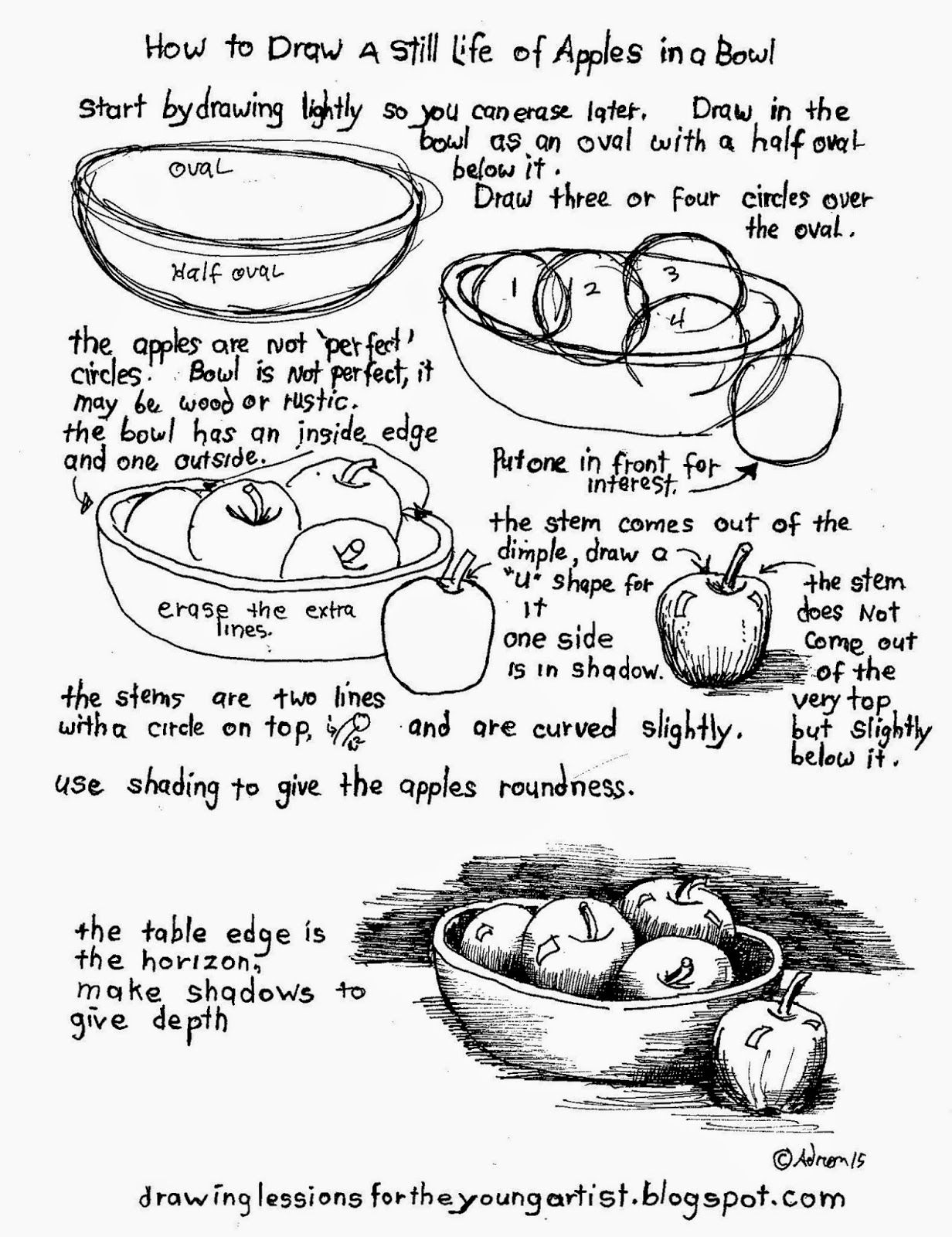How To Draw A Still Life Of Apples In A Bowl How To Draw Worksheets For Young Artist
