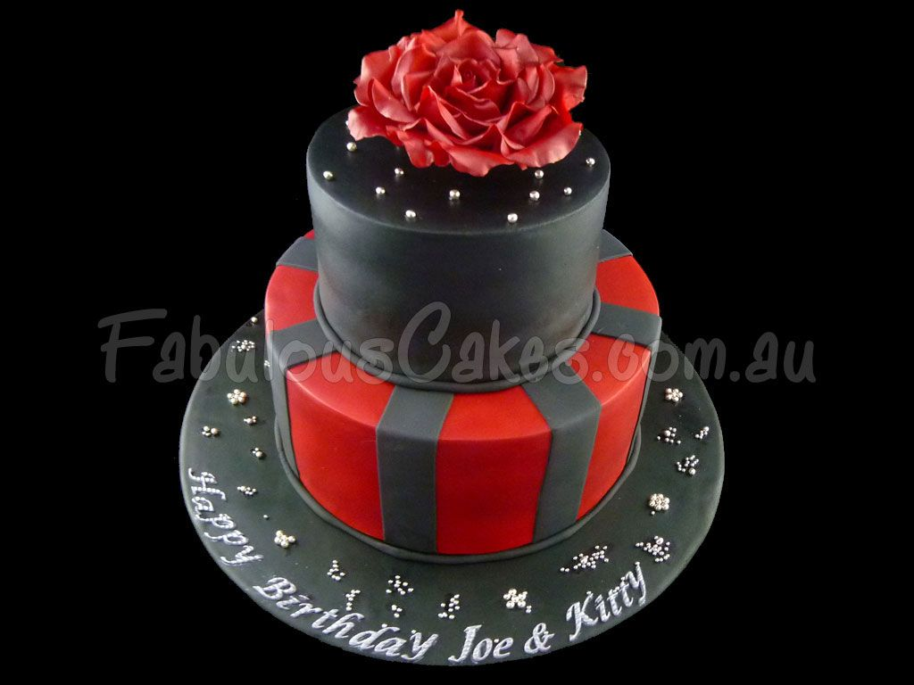 Black And Red 3 Tier Cake