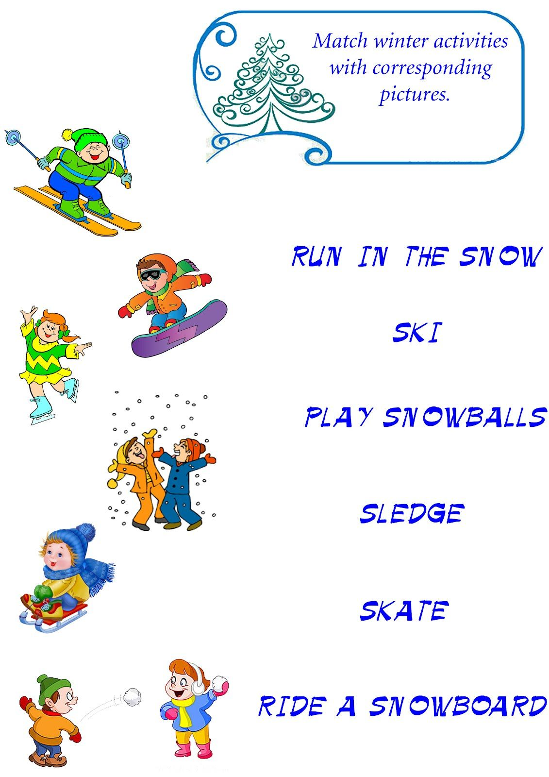 Winter Vocabulary Worksheet Winter Esl English