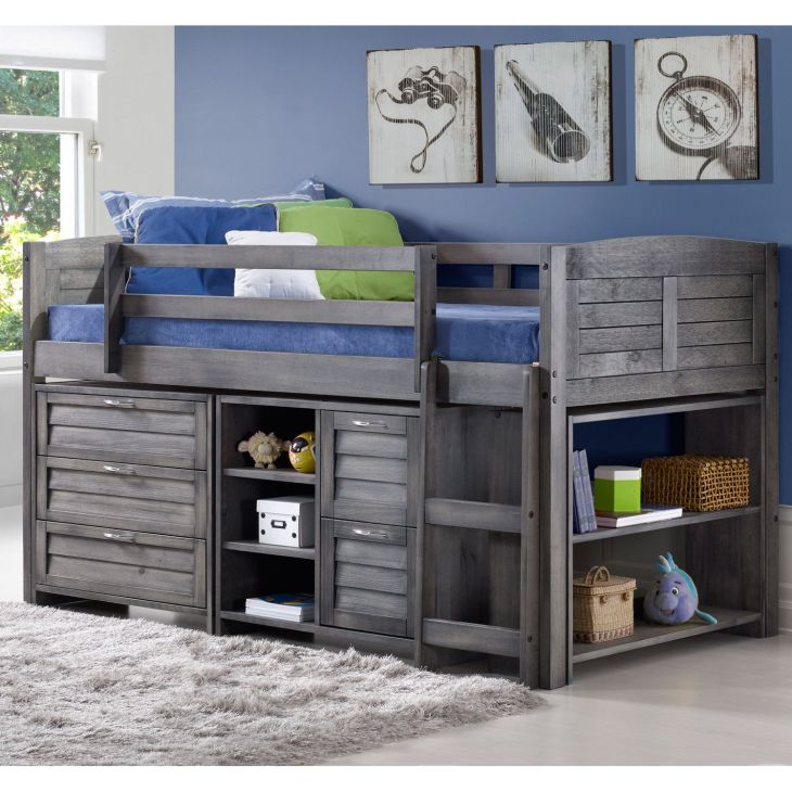 Donco Kids Louver Twin Low Loft Slat Bed with Bookcase and Chest