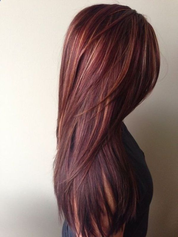 Red Hair Color With Caramel Highlights