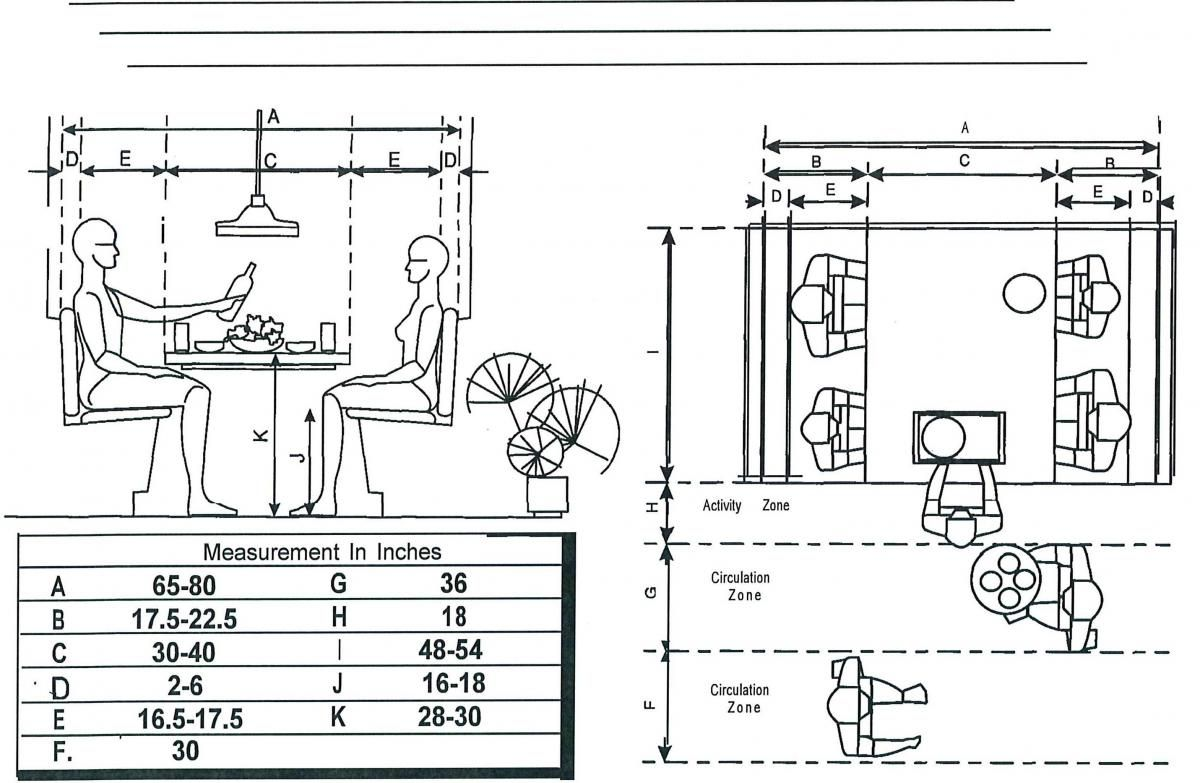 Seating Dimensions Booth Seats