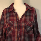 Red and black flannel cardigan  Plaid Button Down Shirt Perfect for fall Burgundy mustard yellow