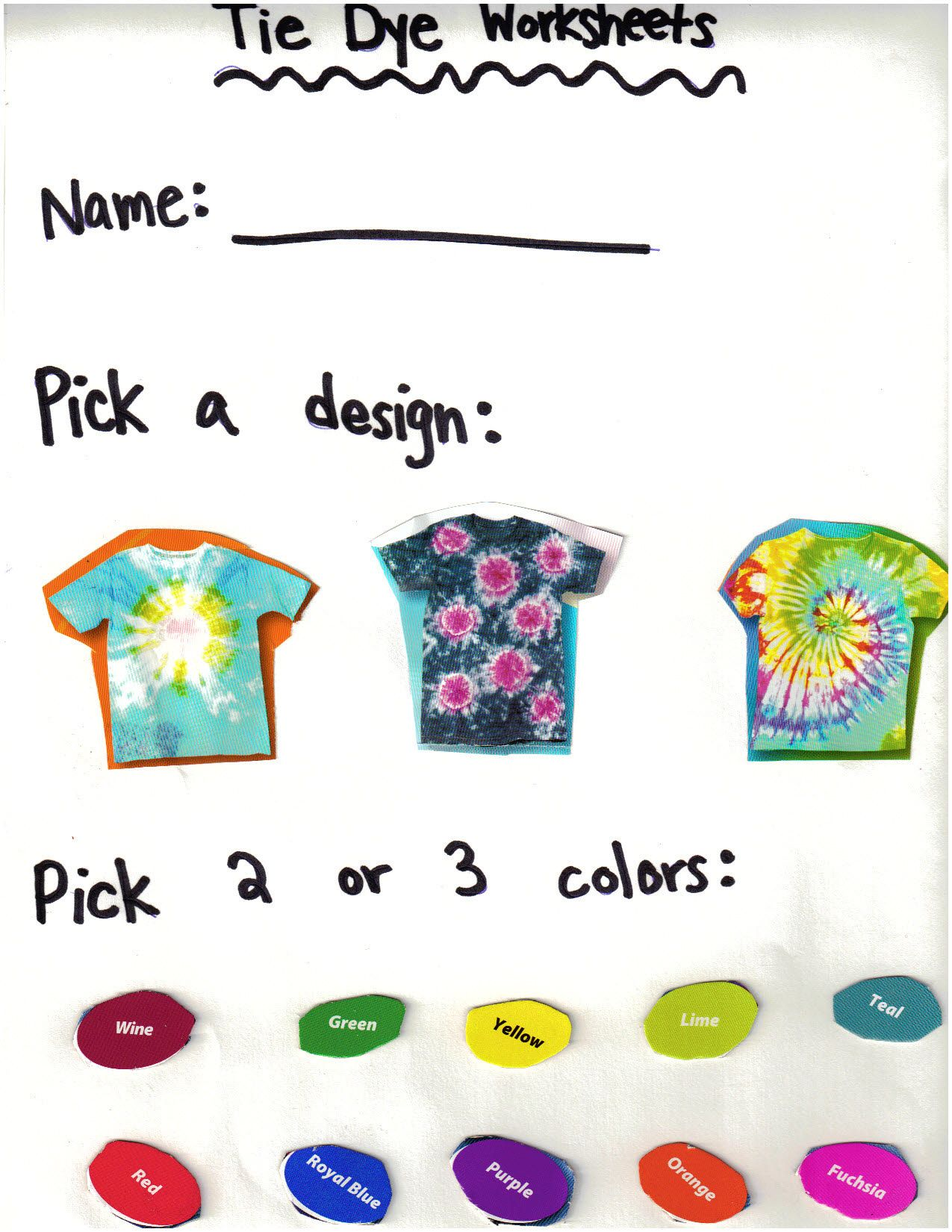 For A Tie Dye Lesson Plan Cut Up Pictures From Tie Dye Box To Make A Worksheet And Have