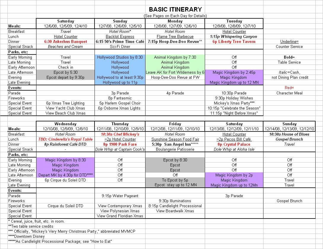 Basic December Disney World Itinerary