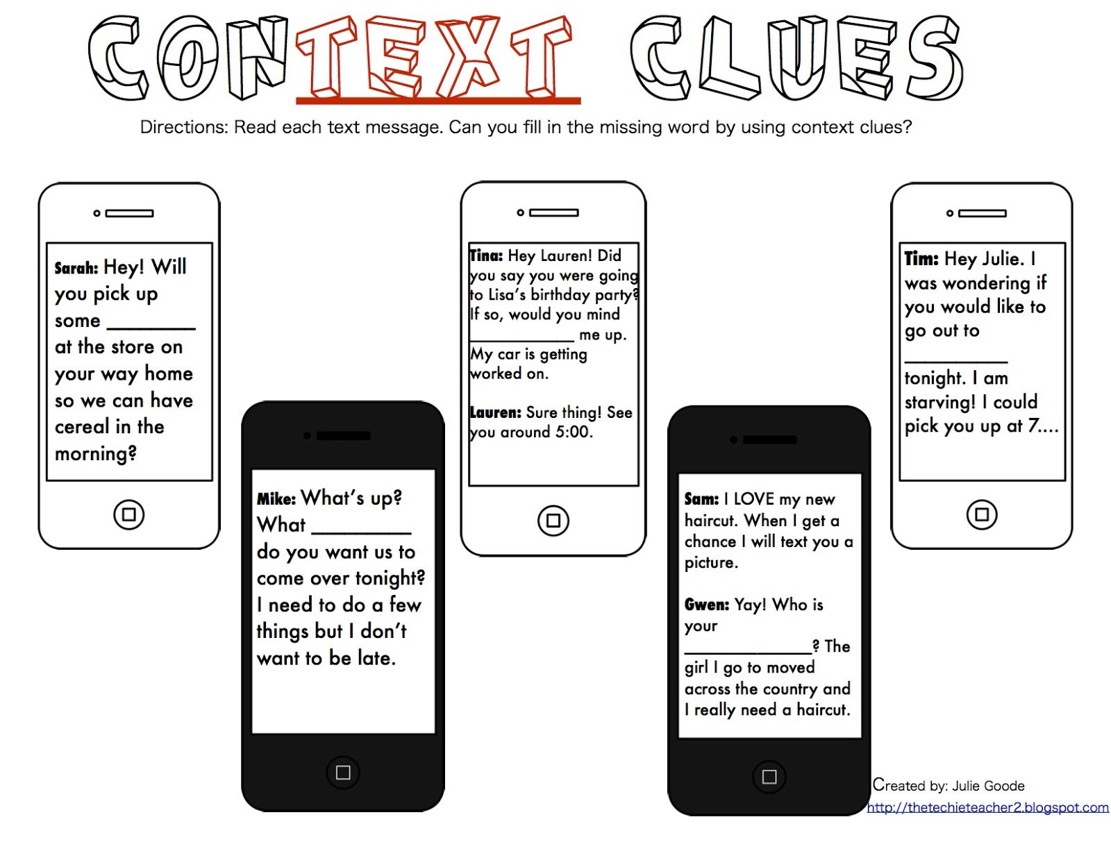 The Techie Teacher Context Clues Freebie