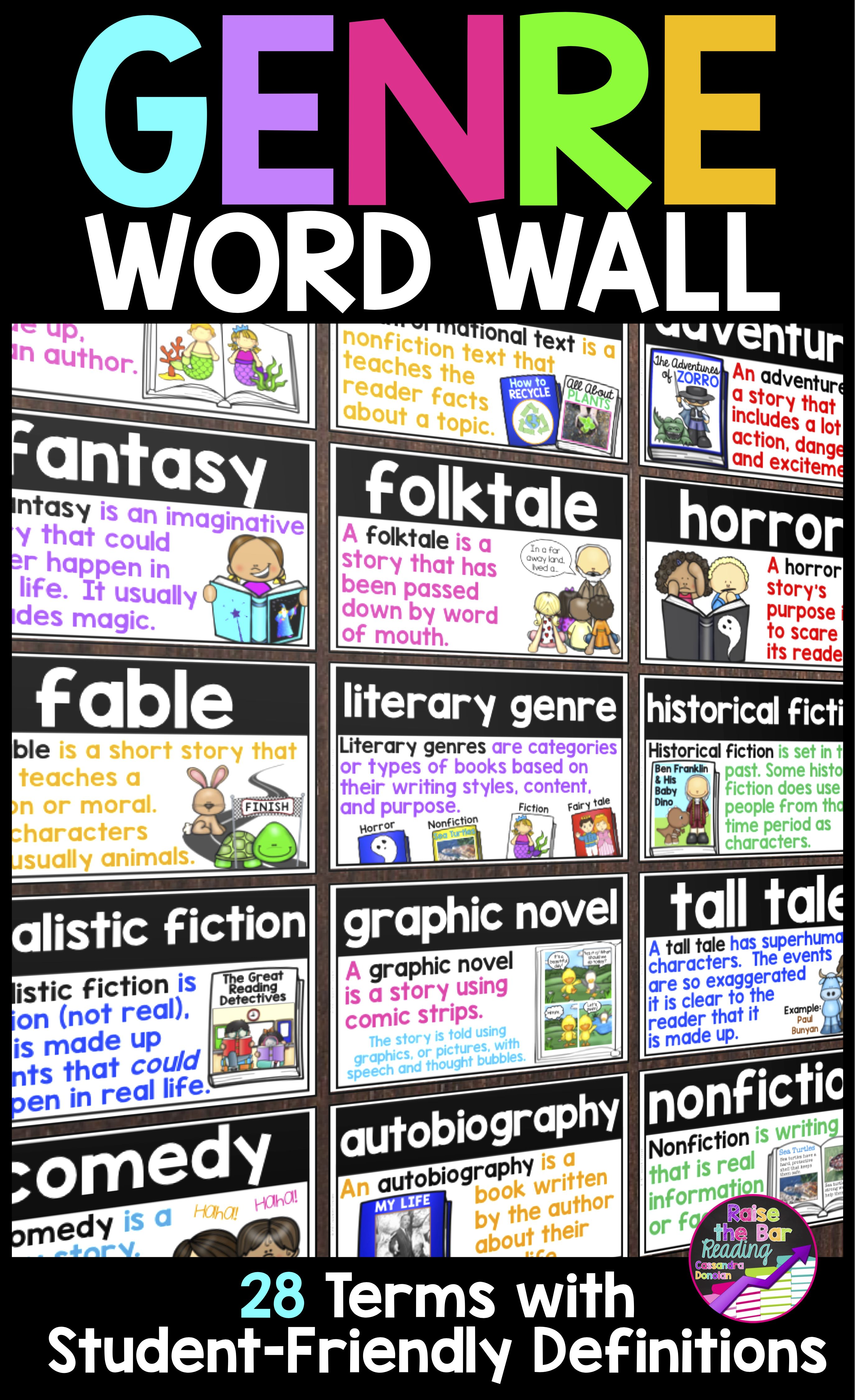 Genre Word Wall 28 Reading Genre Posters Word Wall