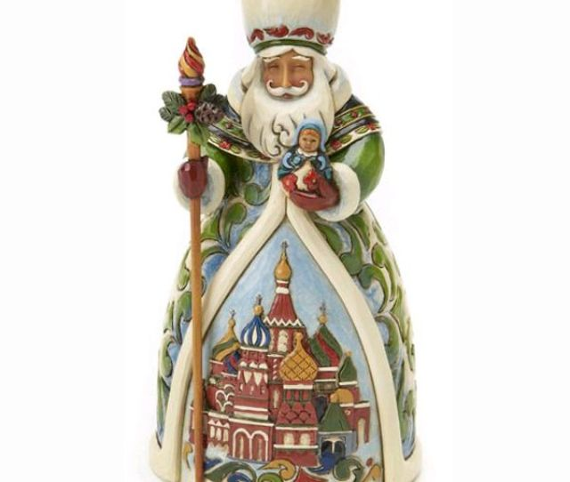 Jim Shore Heartwood Creek Christmas Traditions Grandfather Frost Russian Santa Figure A Customary Russian Santa With Staff And Majestic Scene
