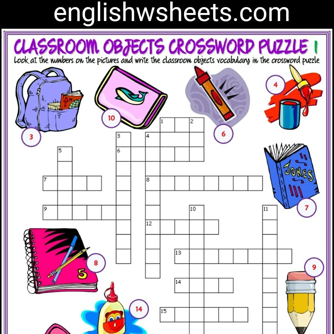 Classroom Objects Esl Printable Crossword Puzzle Worksheets For Kids Classroom Objects