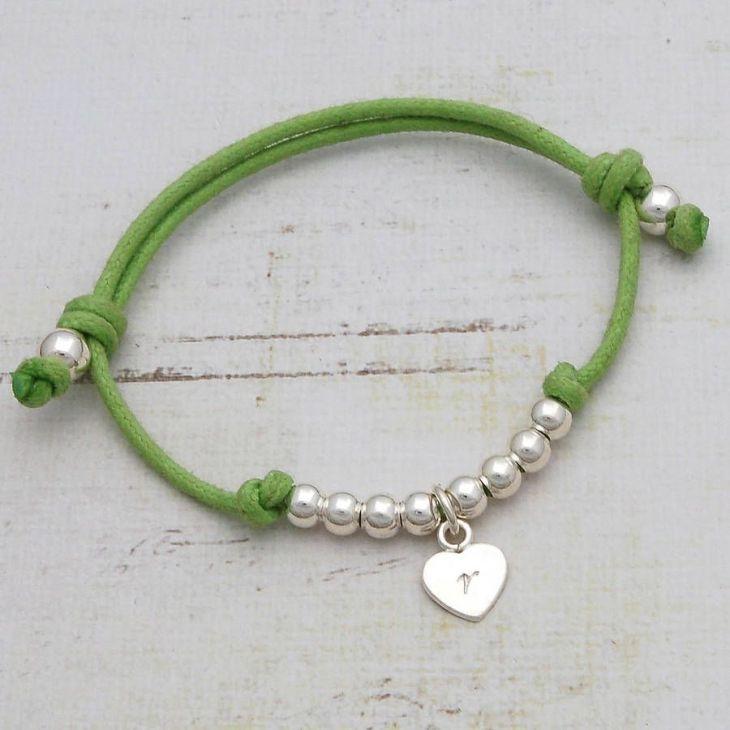 Girls Personalised Silver Friendship Bracelet Heart charm