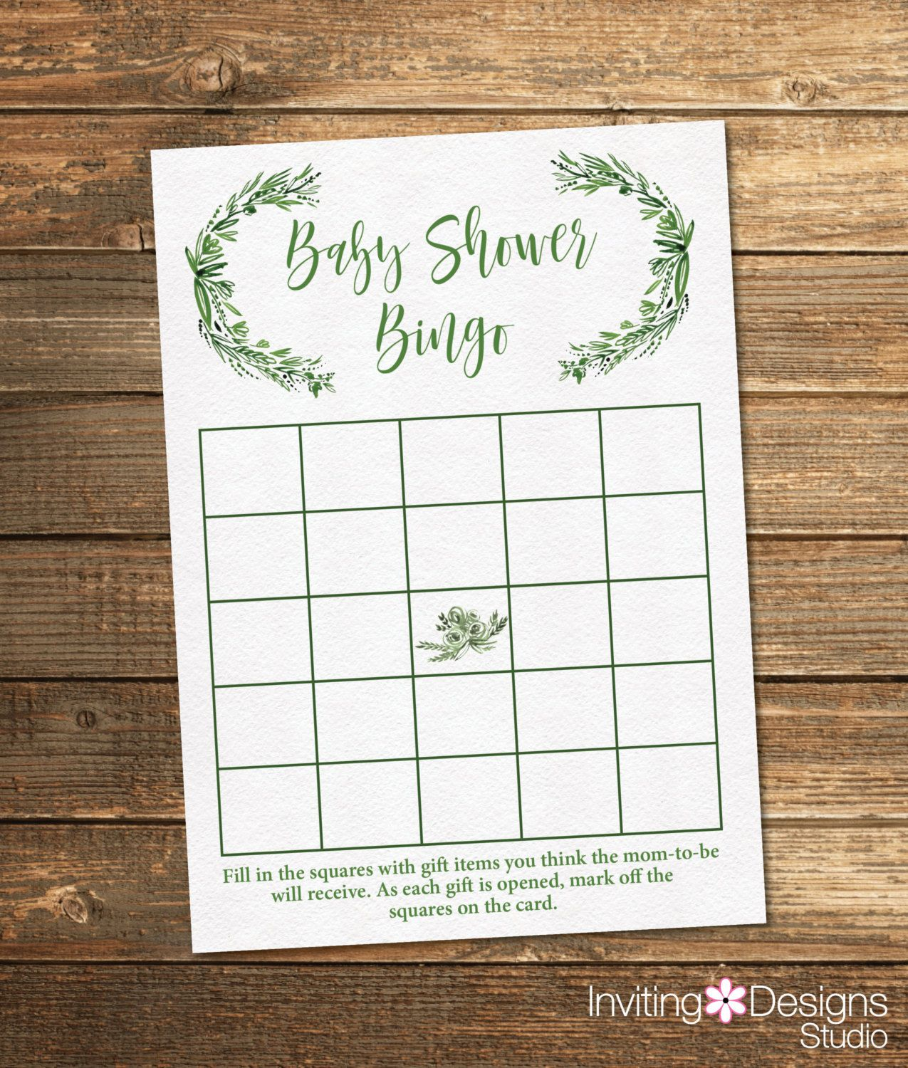 Greenery Baby Shower Bingo Neutral Baby Shower Bingo Green Watercolor Floral Printable