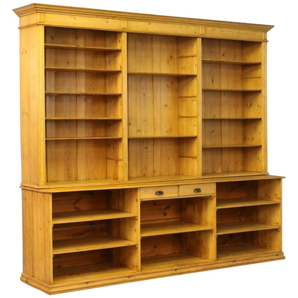 large antique pine bookcase wall unit denmark circa 1880 on wall units id=35518