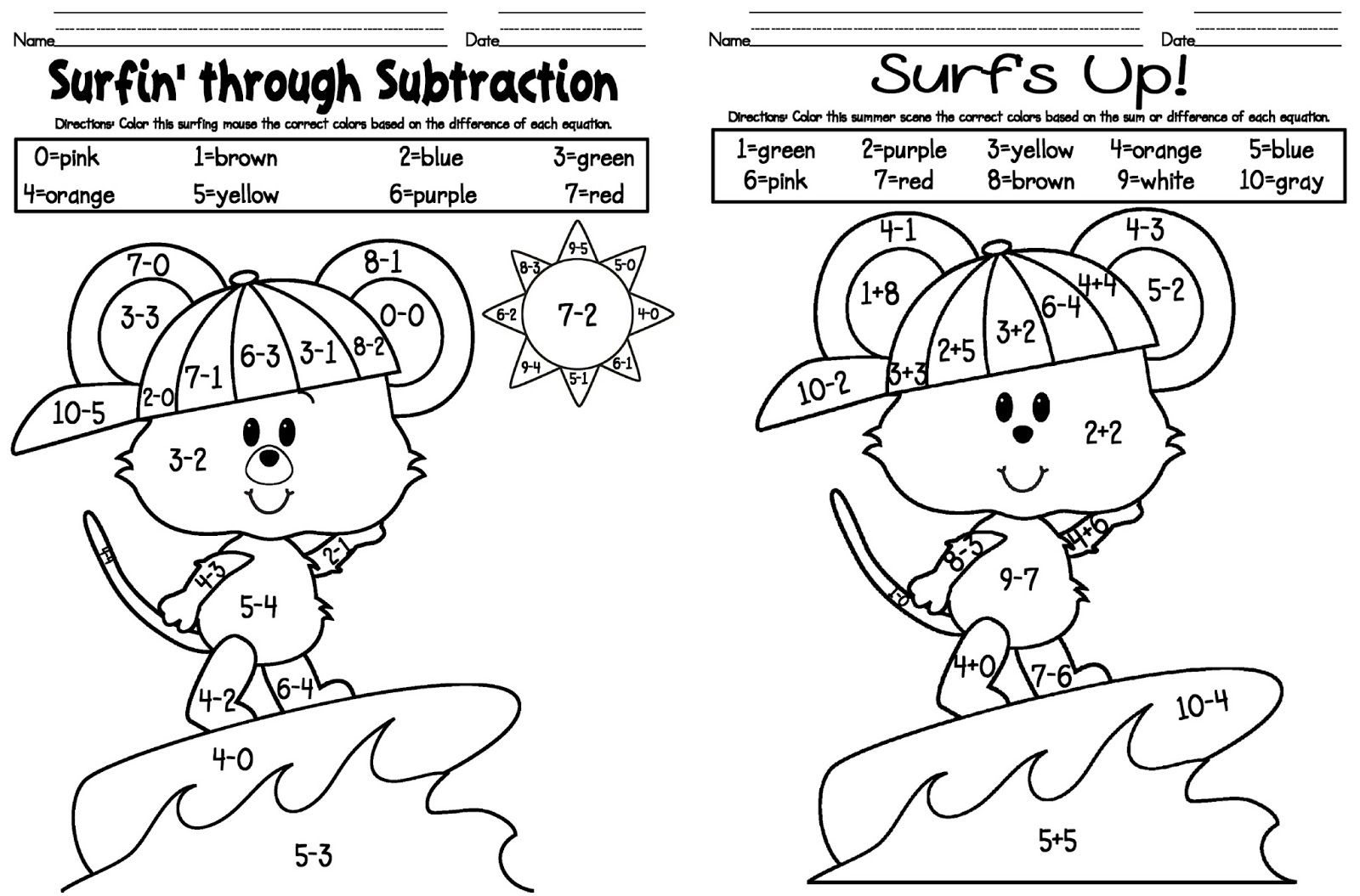 Addition And Subtraction Coloring Sheets