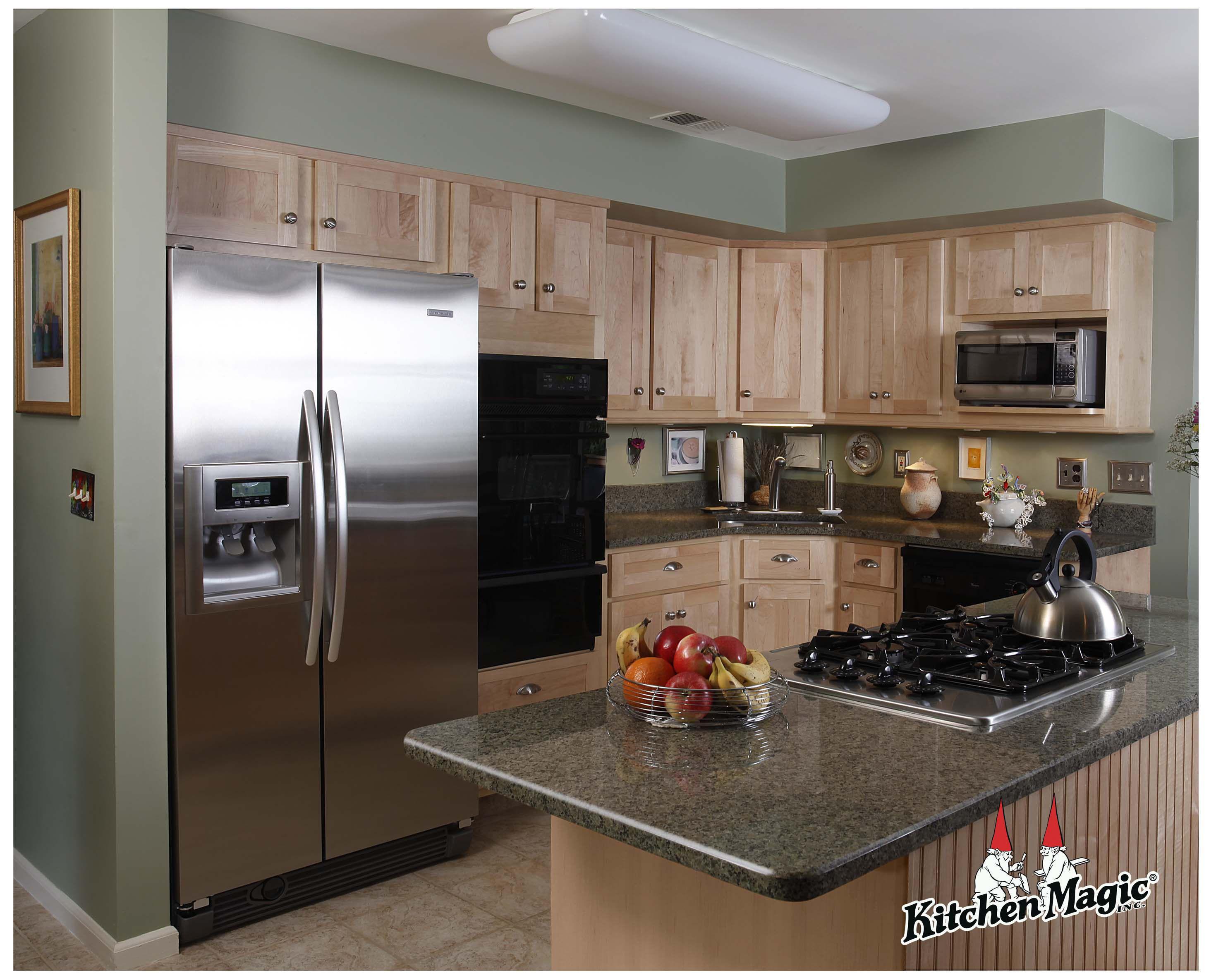 Natural Maple Wood Cabinets. Granite Countertop ... on Maple Cabinets With Granite Countertops  id=13974