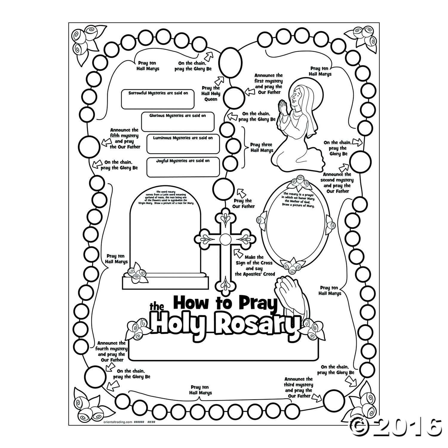 Color Your Own All About The Rosary Posters
