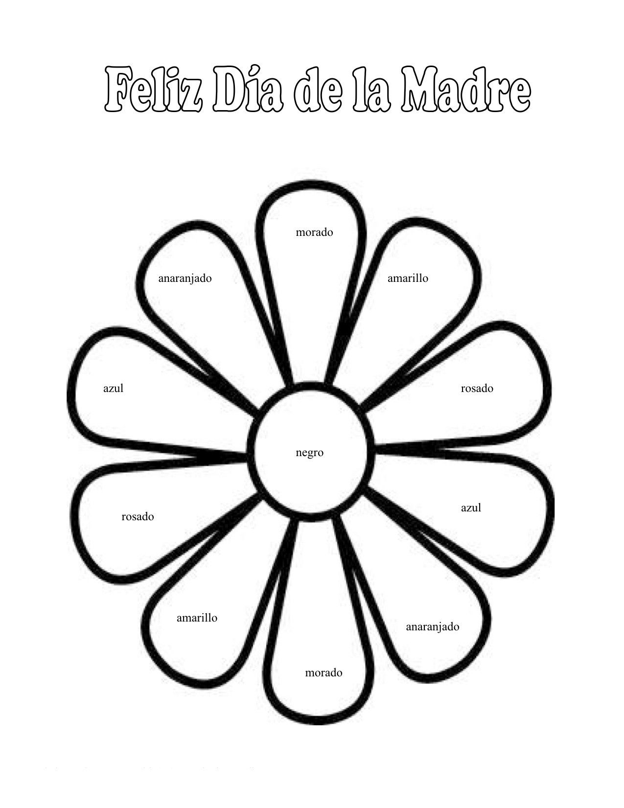 Spanish Preschool Happy Mothers Day Colors Worksheet Earth