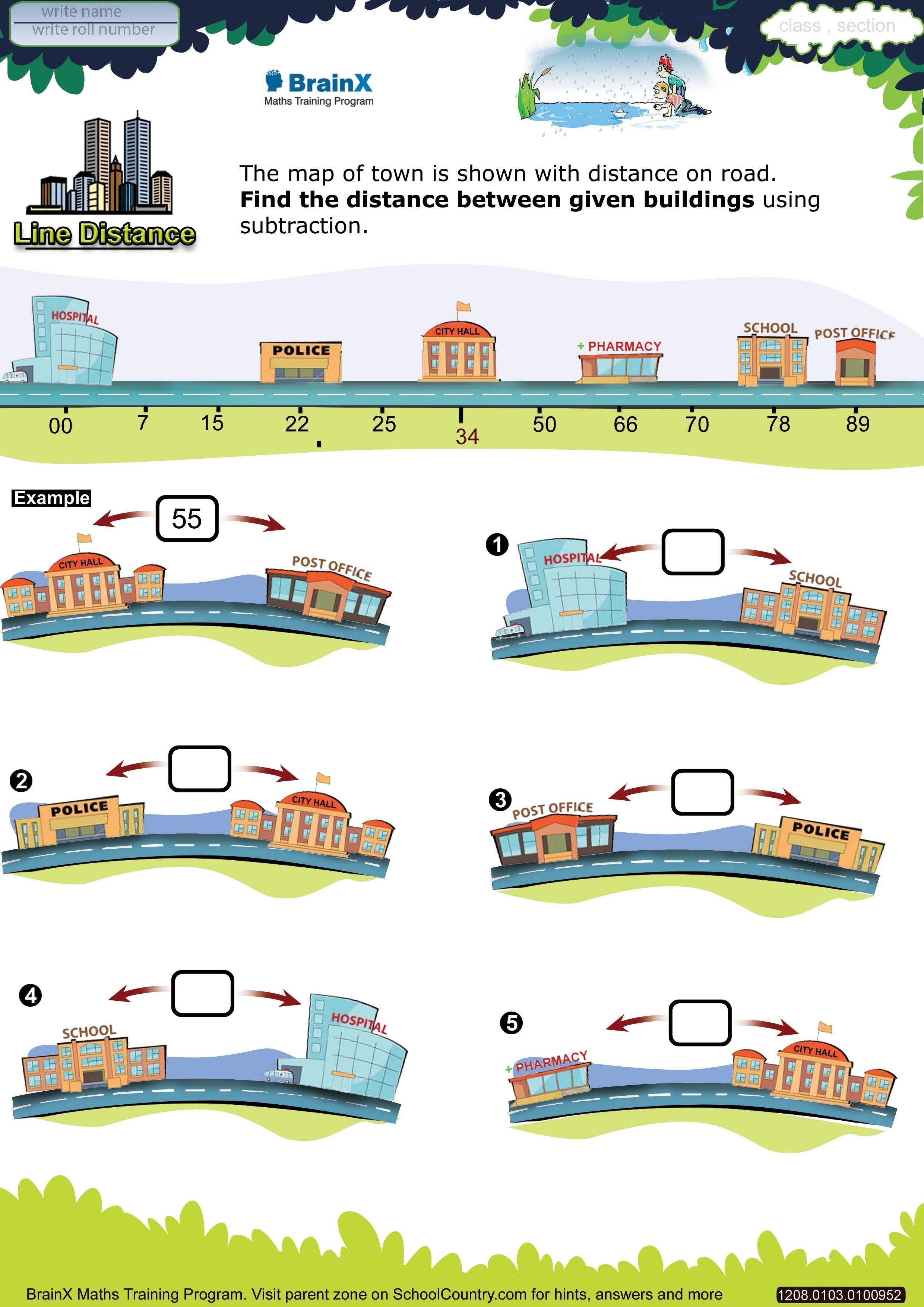 Line Distance Grade 1 Brainx Math Worksheet