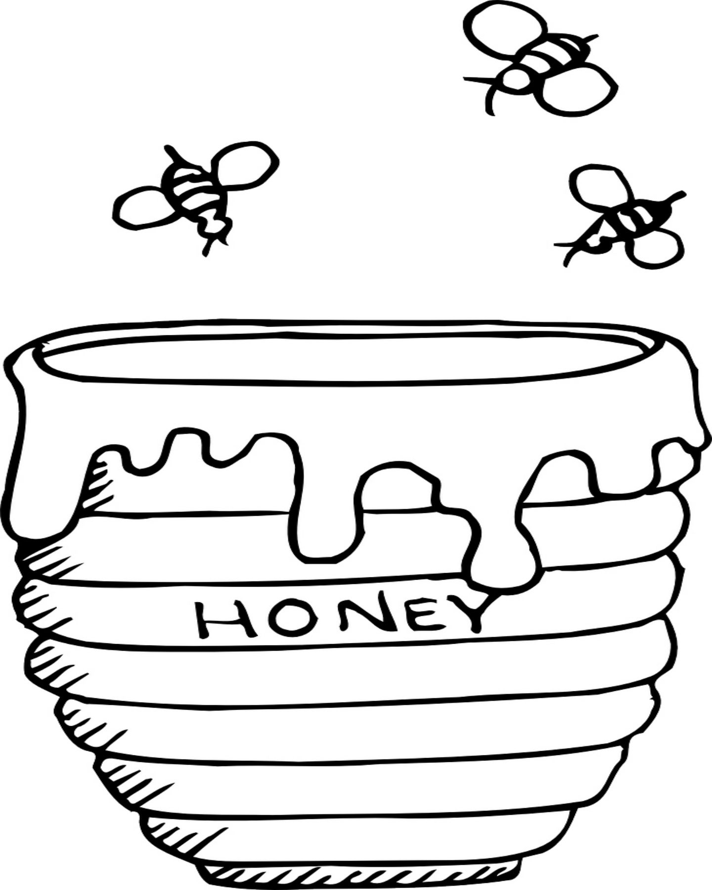 Bees Buzzing Around A Honey Pot Coloring Page