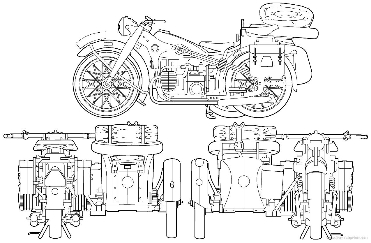 Motorcycle Blueprint Drawings