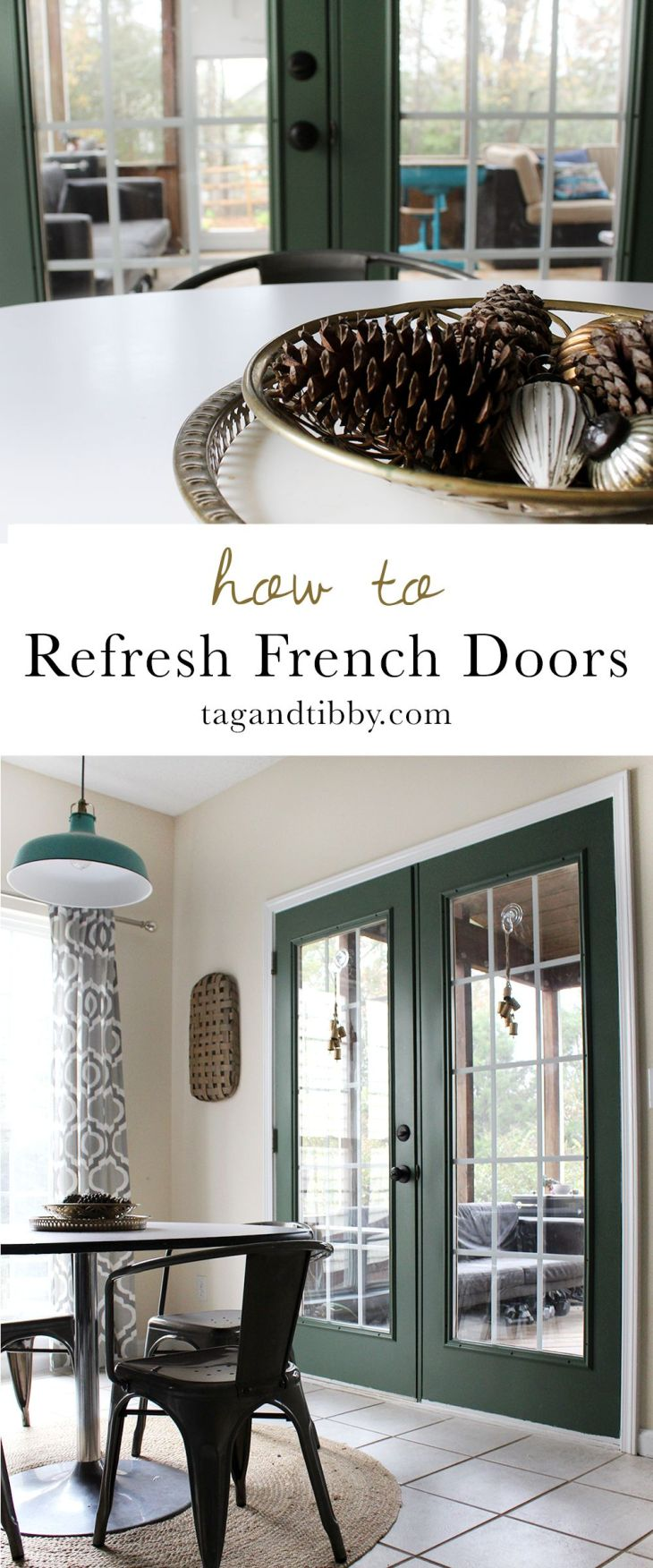 Refresh a Dated French Door with Paint Step guide Doors and