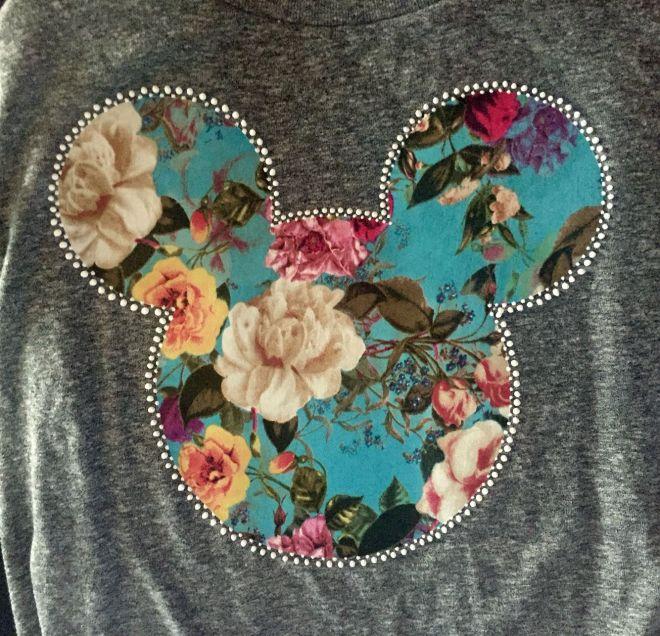 Diy disney shirts iron on teal floral fabric on grey