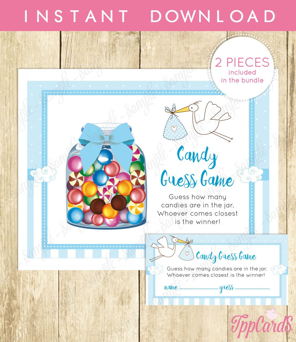 New To Tppcards On Etsy Stork Baby Shower Candy Guessing Game Printable
