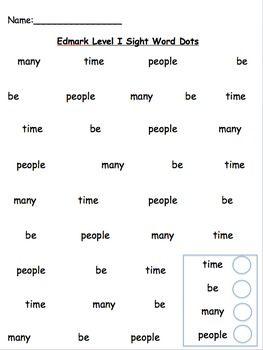 Edmark Level 2 Sight Word Dot Packet Words 1 60
