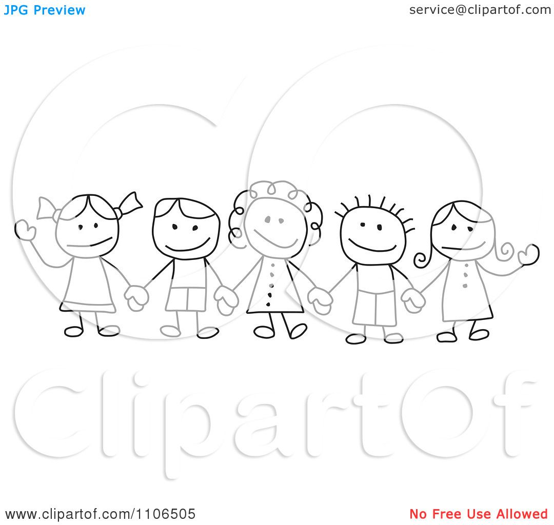 Children Holding Hands Drawing
