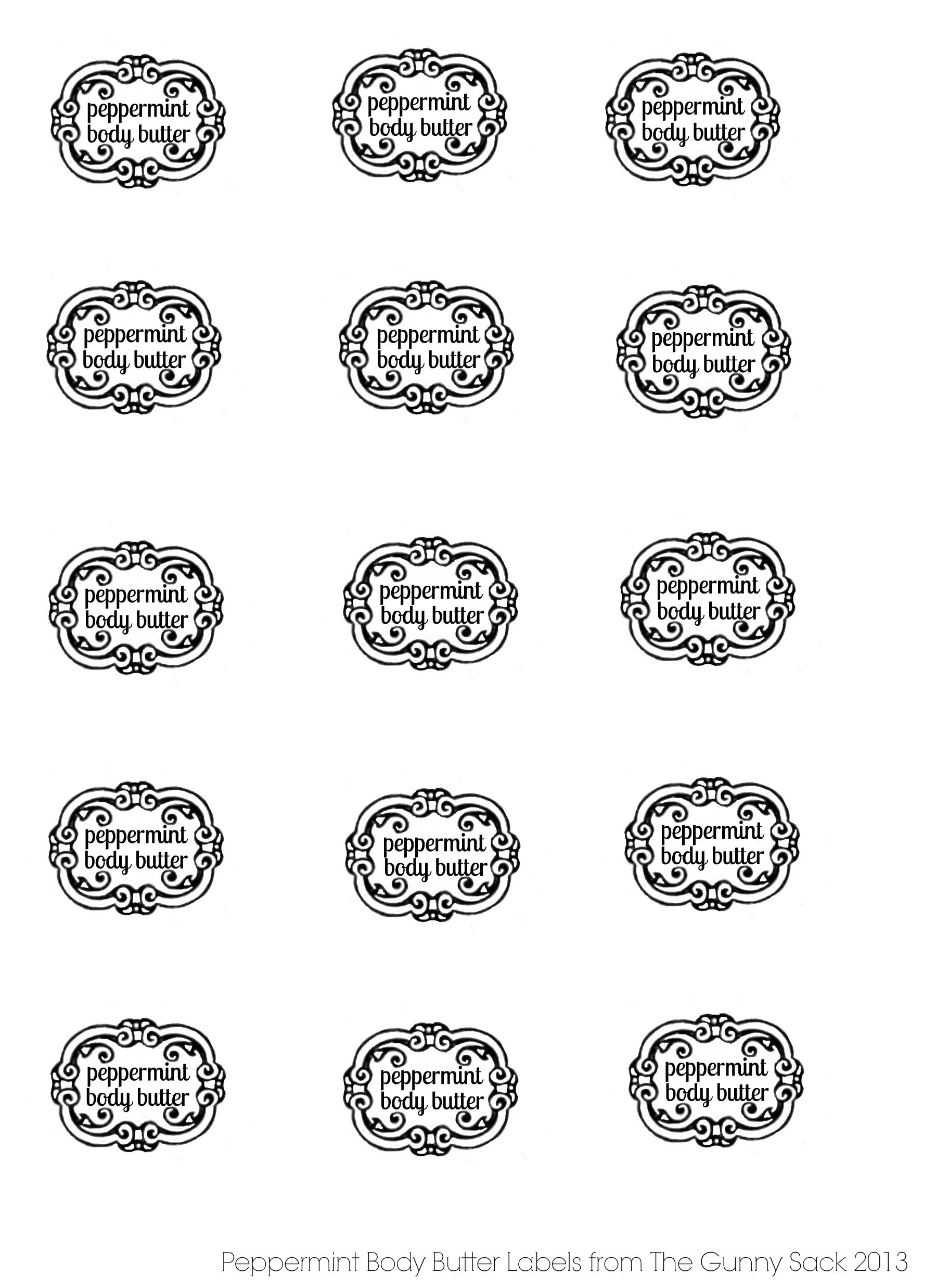 Peppermint Body Butter Labels From Thegunnysack