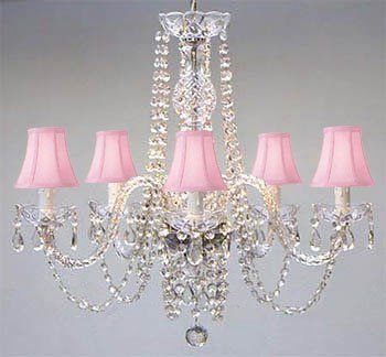 Authentic All Crystal Chandelier Lighting Chandeliers With Pink Shades The Gallery Http