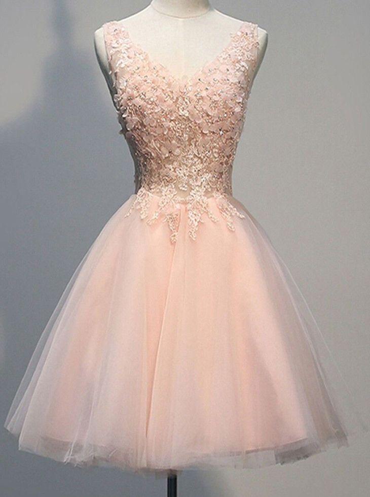 Vintage Vneck Sleeveless Short Open Back Pearl Pink Homecoming