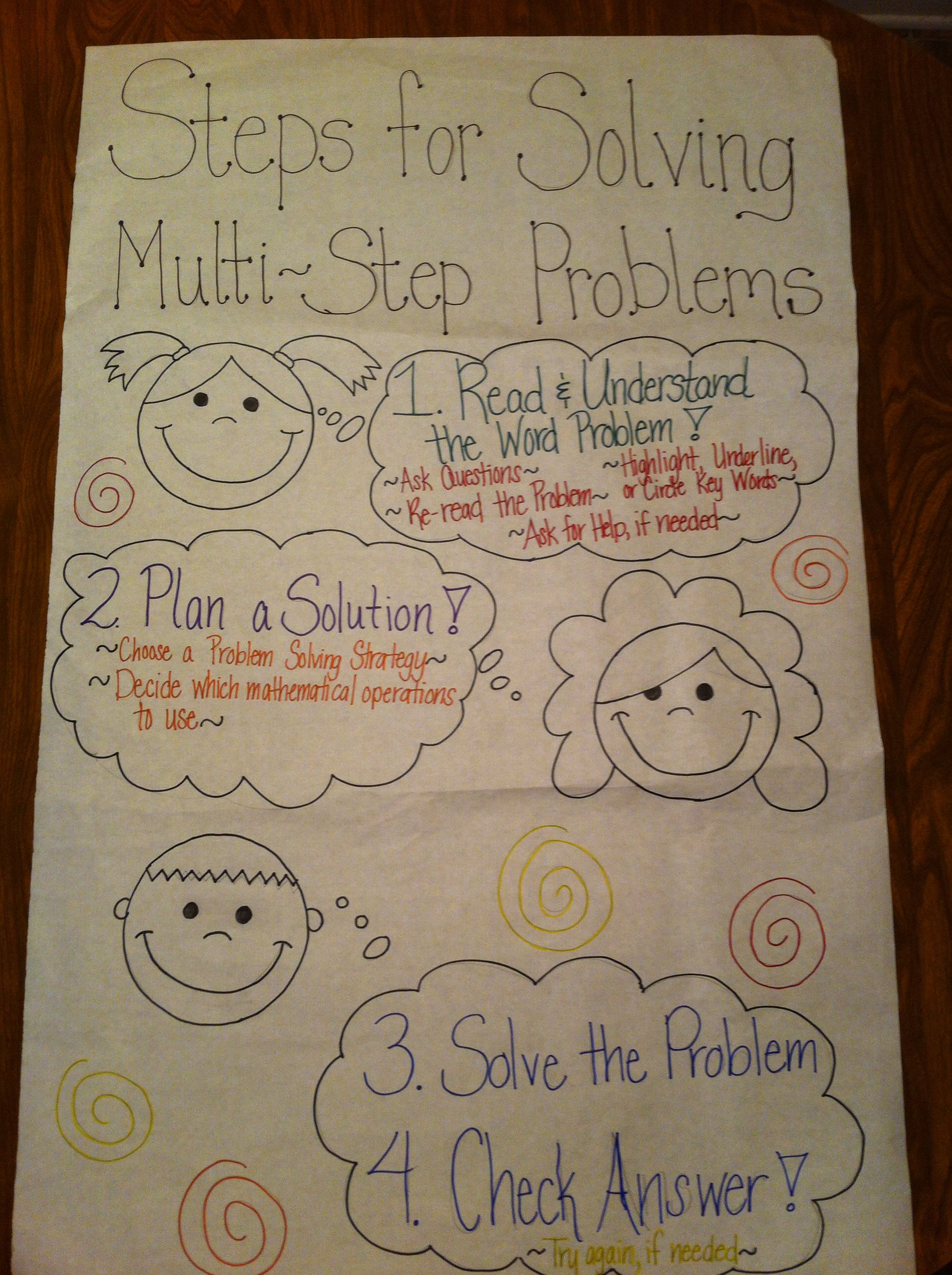 Multi Step Word Problem Anchor Chart