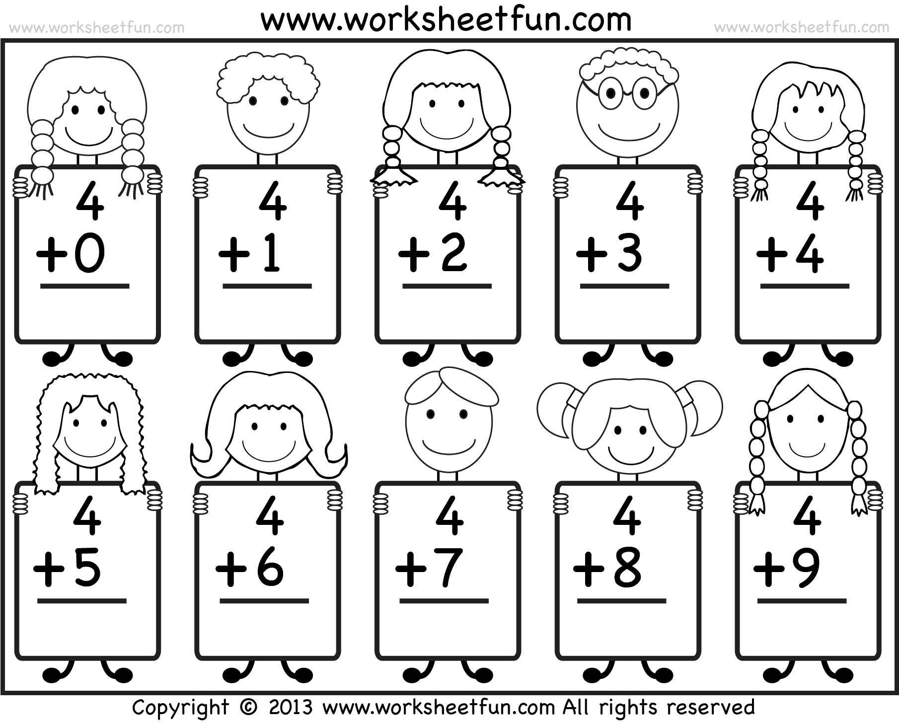 Beginner Addition Basic Addition Facts 9 Kindergarten Addition
