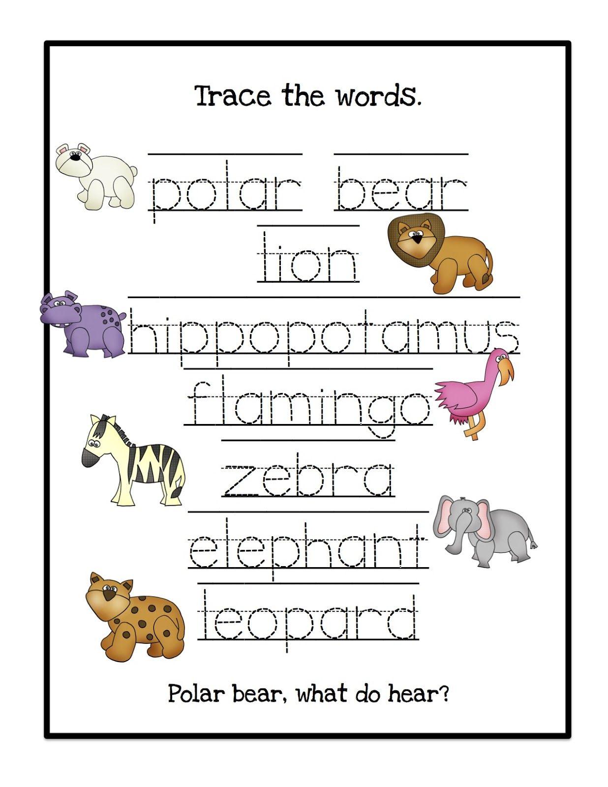 Pre K Words Month Worksheet