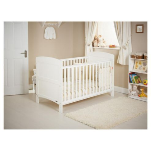 Obaby Grace 4 Piece Cot Bed Set White With Cream Bedding Includes