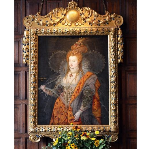 The famous Rainbow portrait of Queen Elizabeth I in the Marble Hall painted about 1600-1602. It has the Latin motto 'Non sine sole iris' - no rainbow without the sun, which refers to Elizabeth as a bringer of peace after a period of storm. It has been attributed to both Isaac Oliver and Marcus Gheeraerts the Younger. It is believed that it was commissioned by Lord Salisbury for the Queen's visit to Hatfield in 1602.: