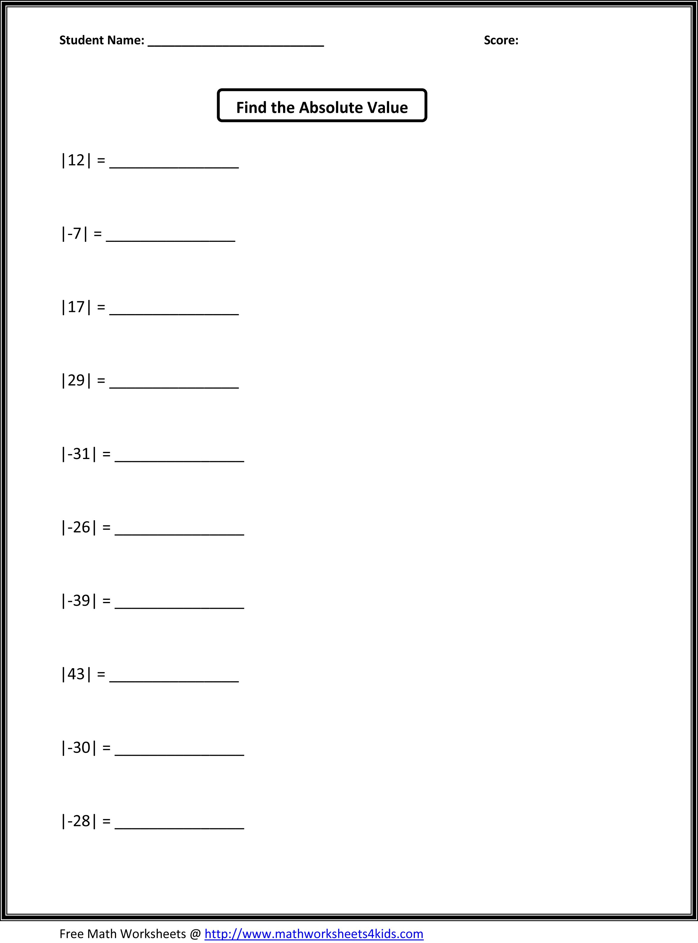 Free Math Worksheets Exponents 5th Grade