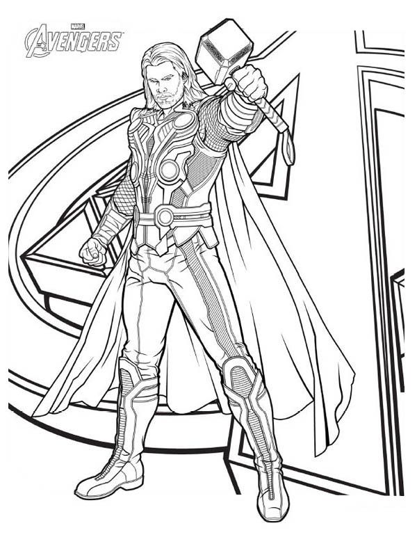Avengers Character Thor Coloring Page Print Online