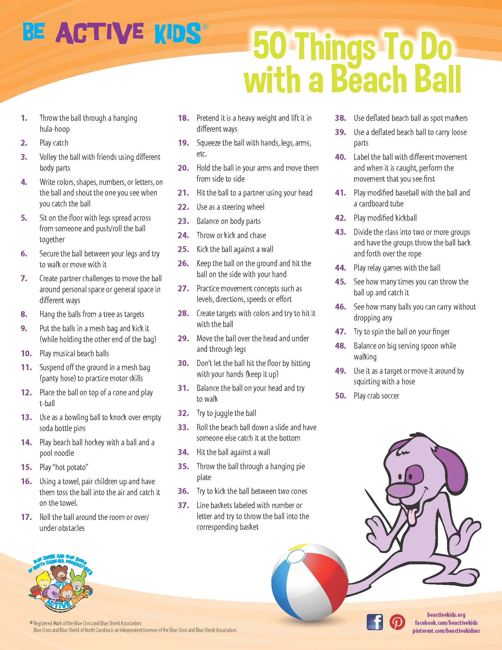 Printable 50 Things To Do With A Beach Ball Physical